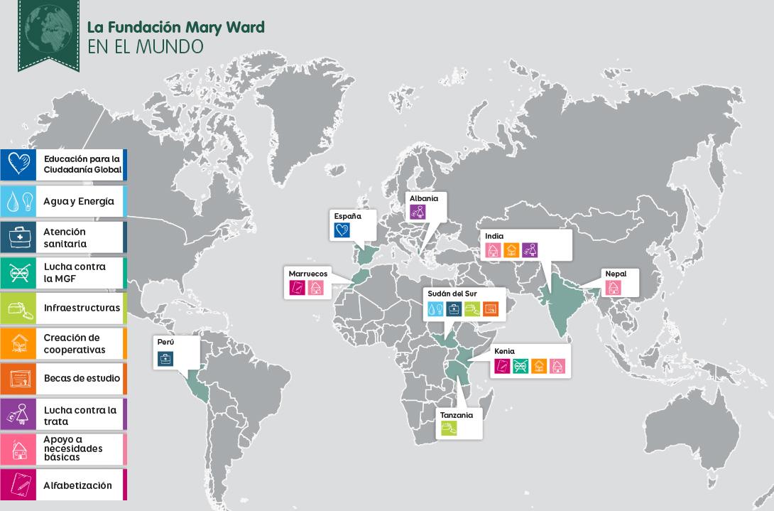 Mapa Fundación Mary Ward